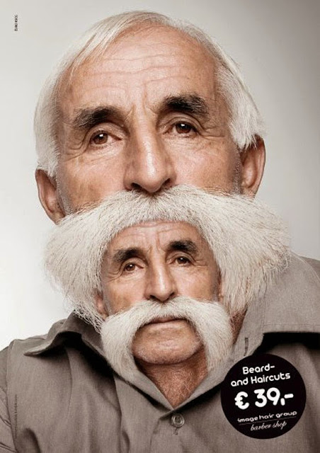 Publicidad de promoción de corte de cabello y barba.