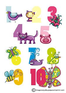 Lamina con numeros y dibujos para imprimir