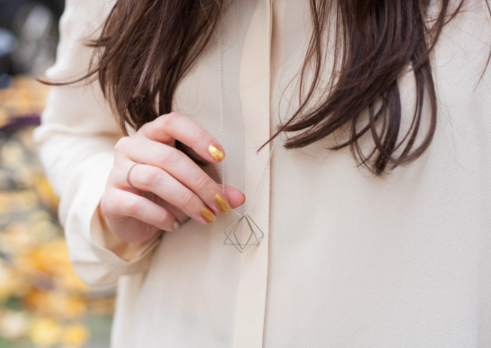 silk shirt, lobogato necklace