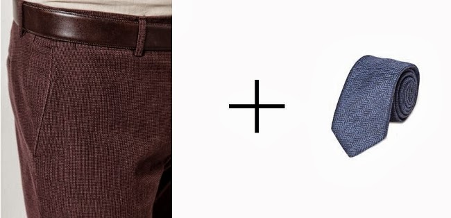 pantalon marron microcuadro y corbata azul espiga