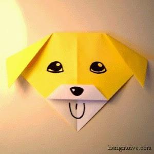 Gấp giấy Origami hình chú chó con rất đơn giản và dễ làm