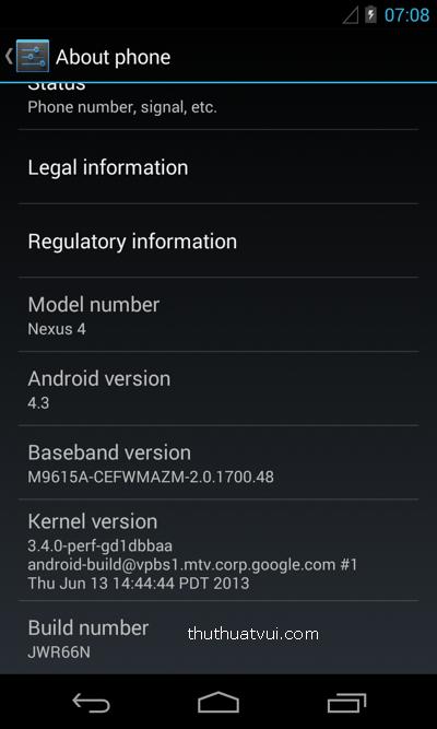 Android 4.3 chưa phát hành đã rò rỉ trên mạng
