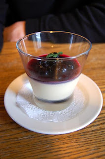 Stitch and Bear - Lemon cream with blueberry compote at the Wild Honey Inn
