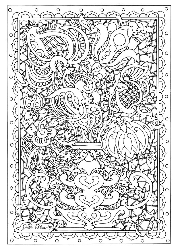 flower detailed coloring pages - photo#1