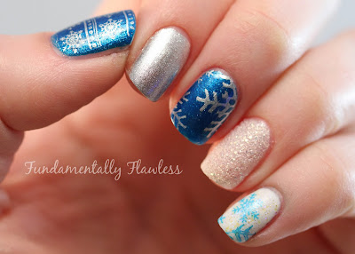 Christmas Snowflake Nail Art with MoYou Festive Collection Plate 03