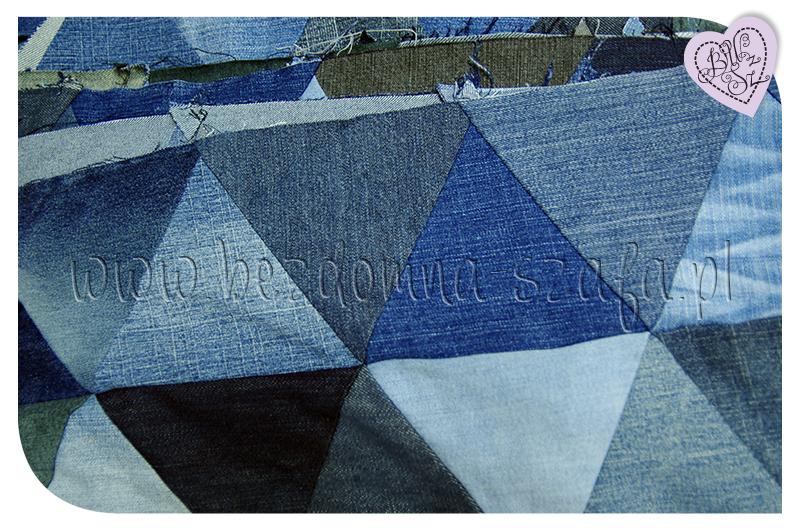 jeans, patchwork, quilt, triangle, dżins, narzuta, trójkąty