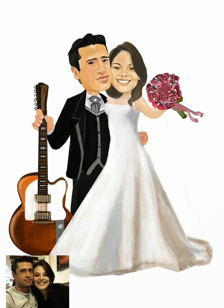 noivos colorido para convite de casamento