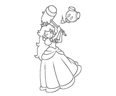 #17 Princess Peach Coloring Page