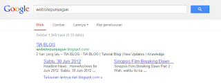 TIA BLOG Mendapat Sitelink dari Google!