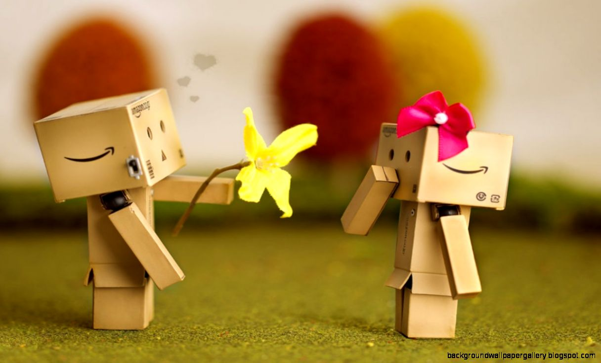 Cute Danbo Love Kitty Wallpaper