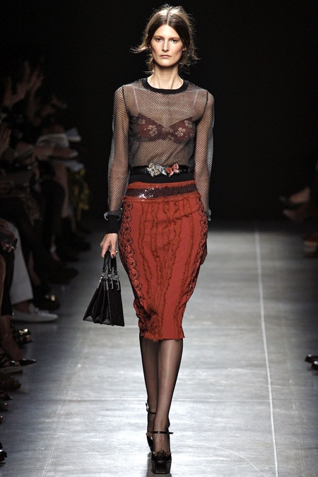 Punk Fishnet blouse on the runway for Spring
