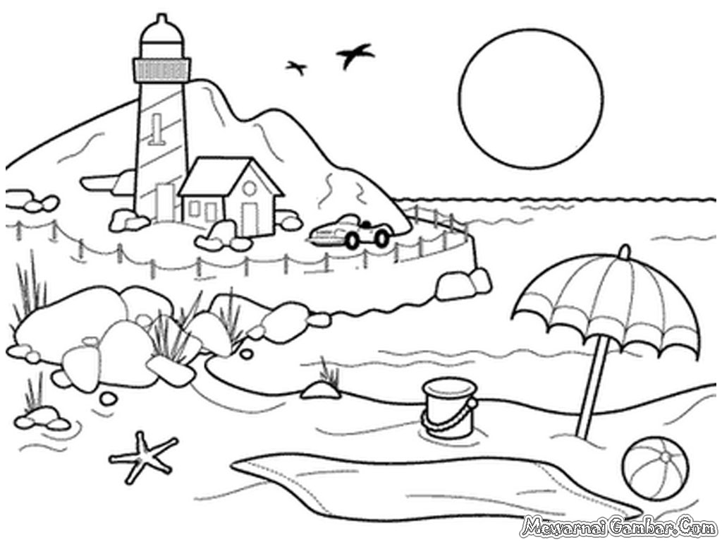 mewarnai gambar pemandangan gunung dan sawah mewarnai pemandangan laut mewarnai pemandangan bawah laut