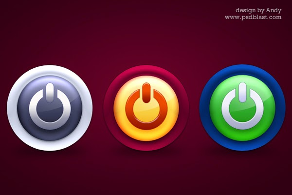 Glossy Colorful Power PSD Icons