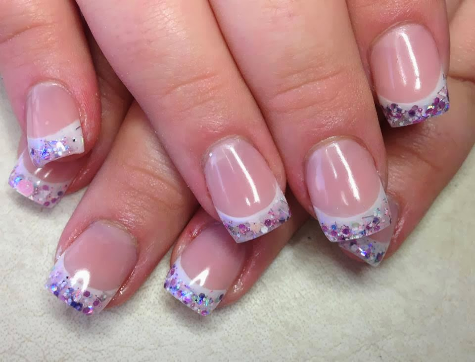Classic pink and white sculpted gel nails with multicolor mix glitz