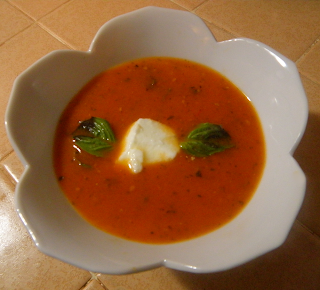 Bowl of Tomato Soup with Yogurt Dollop