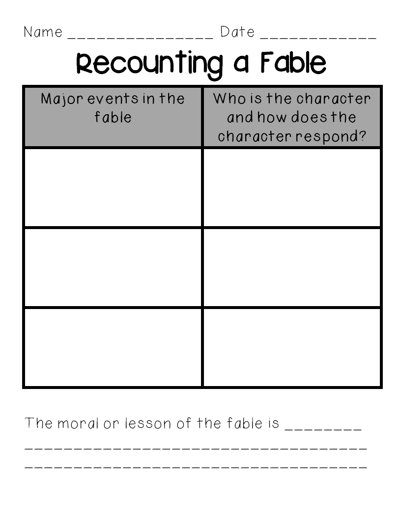 Fable Writing Template