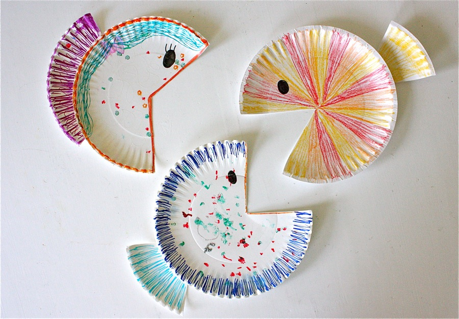 Paper plate fish made everyday for Easy crafts to do