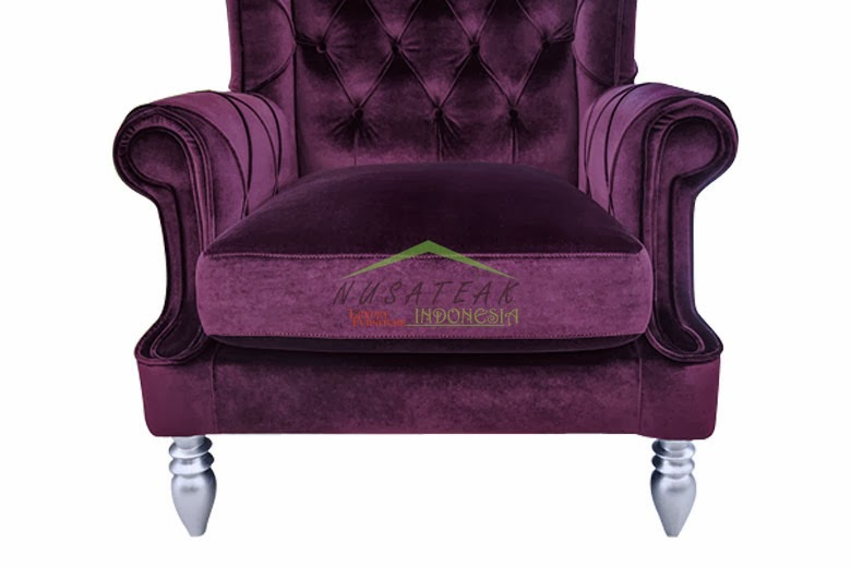 High Back Chair in Purple Velvet