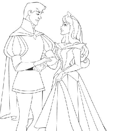 Coloriage princesse aurore et son prince coloriage princesse disney - Prince et princesse dessin ...