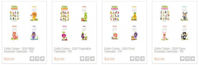 Little Cuties - 2016 Calendar printables, ilove2cutpaper, LD, Lettering Delights, Print and Cut, svg, cutting files, templates,