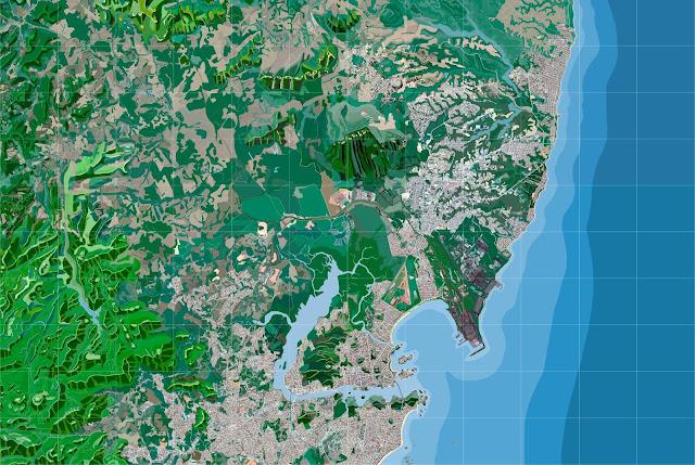 Mapa completo da cidade de Vitória, ES, com resumo dos aspectos de relevo, topografia, hidrografia. 280 x 190 cm de altura. Made with Gimp and MyPaint.