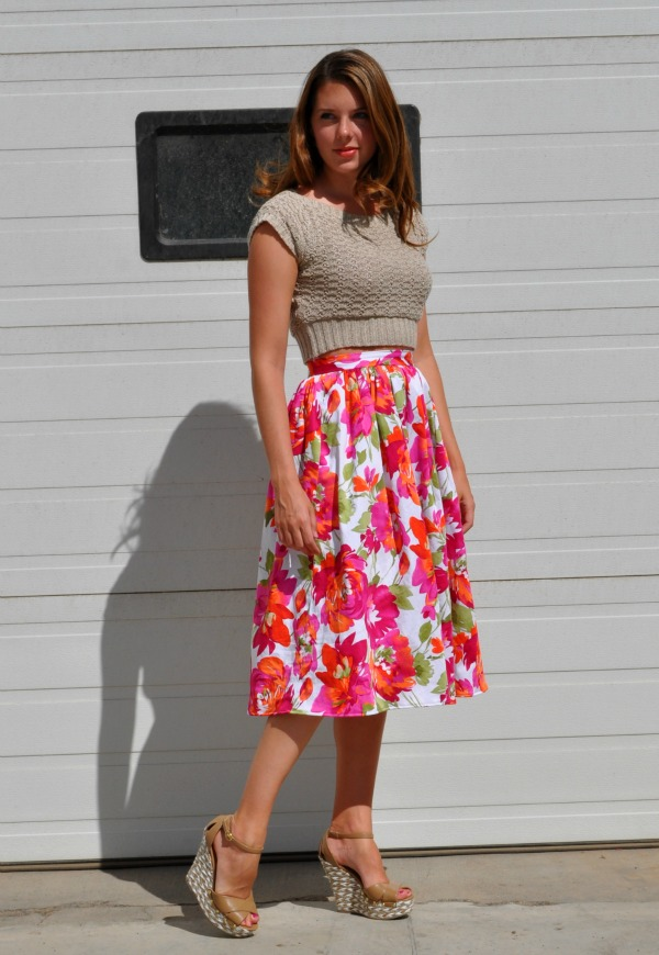 Cropped top with a high waisted skirt