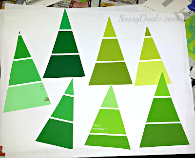 paint sample christmas tree ornament craft for kids