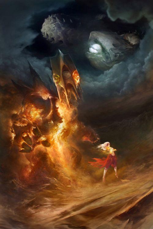 Stepan Alekseev ilustrações digitais fantasia violência Torre mágica elemental