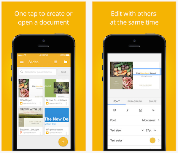 Google Slides for iPhone、iPad