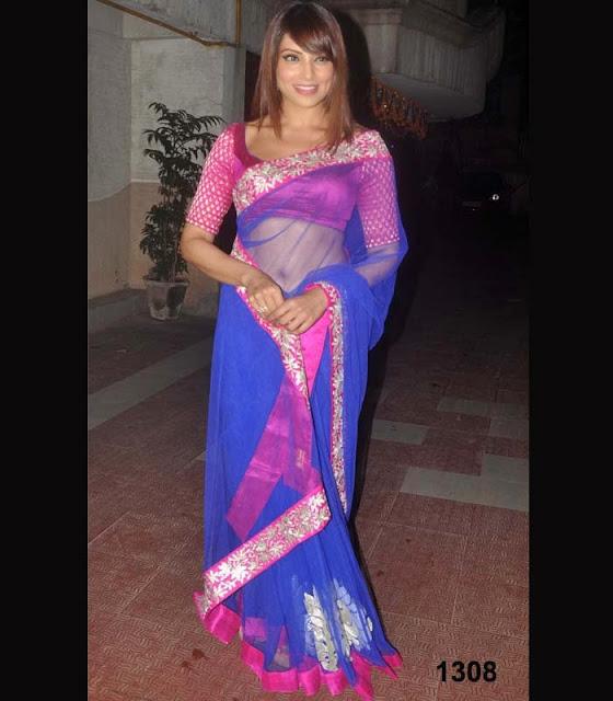 Bipasha Basu in pink and blue sari 2013