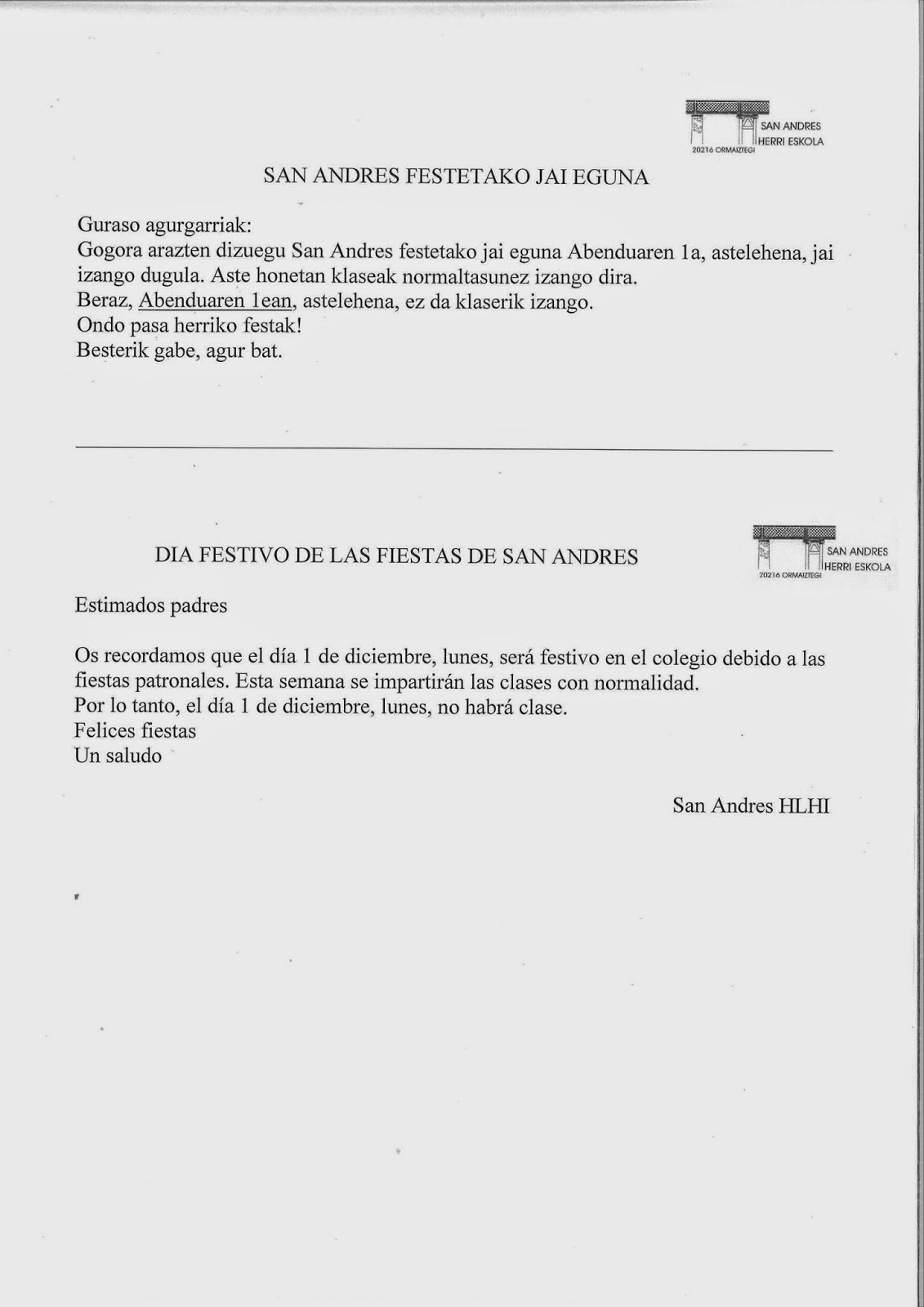 SAN ANDRES FESTETAKO JAI EGUNA / DIA FESTIVO DE LAS FIESTAS PATRONALES