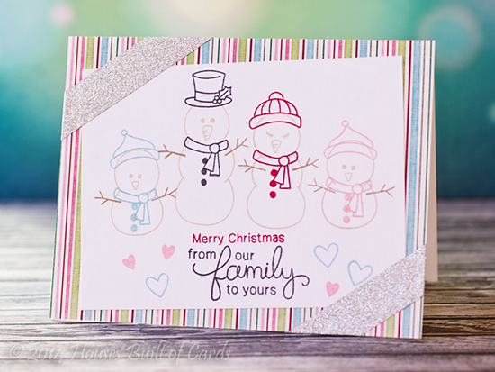 Snowman Family Christmas card by Heather Hoffman for Newton's Nook Designs - Flaky Family Snowman Stamp Set