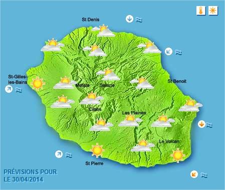 Prévisions météo Réunion pour le Mercredi 30/04/14