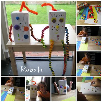 Met de kinderen robots geknutseld van papier, foam, lege doosjes etc.