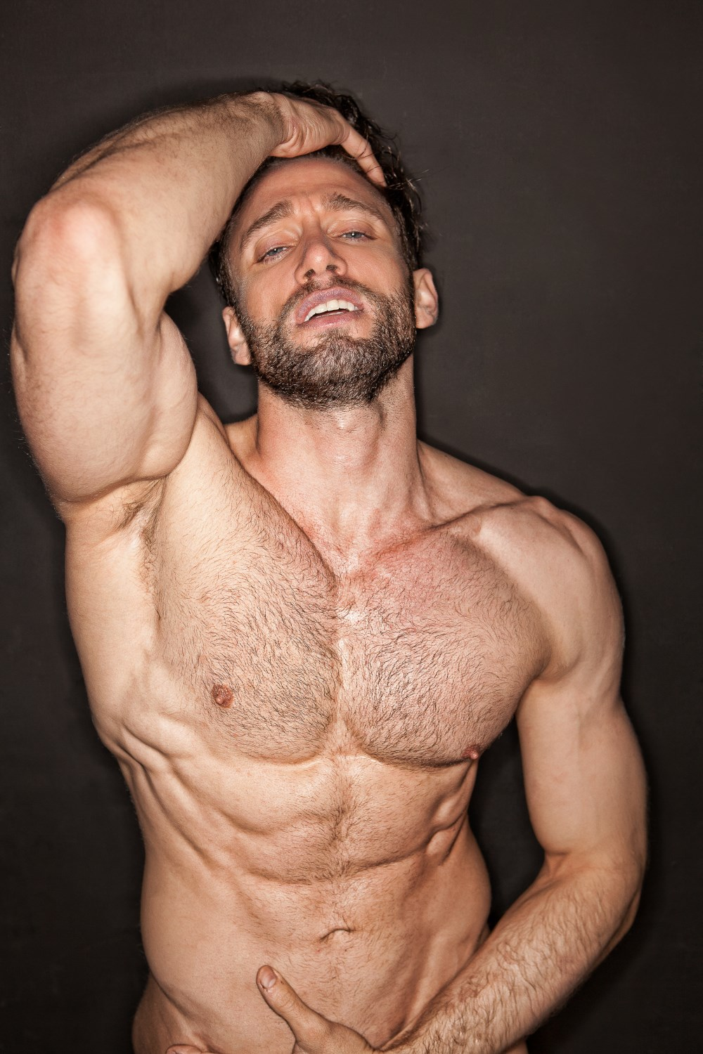 Just Hairy man muscle nude concrete