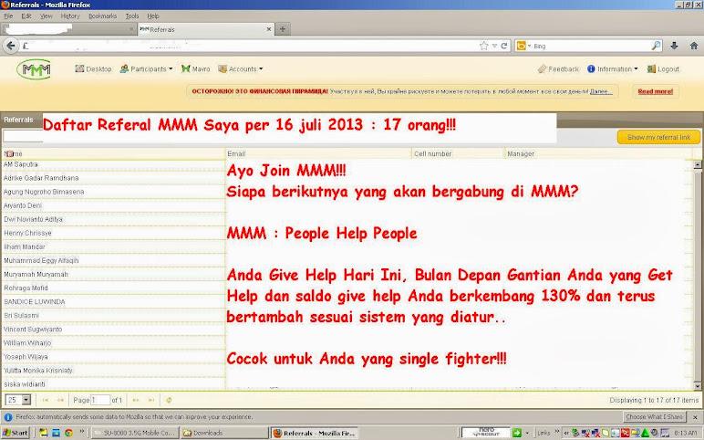Daftar Referal MMM Saya per 16 Juli 2013