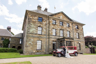 Ormesby Hall, front aspect with Bride and Groom