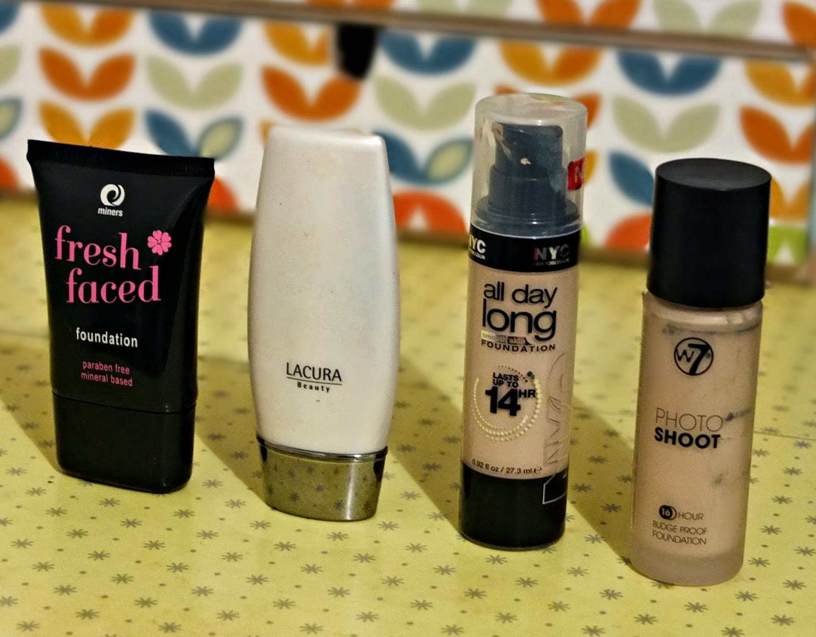 A review of favourite foundations under £5 on Hello Terri Lowe UK beauty blog. Featuring Miners, Lacura, NYC and W7 foundations.