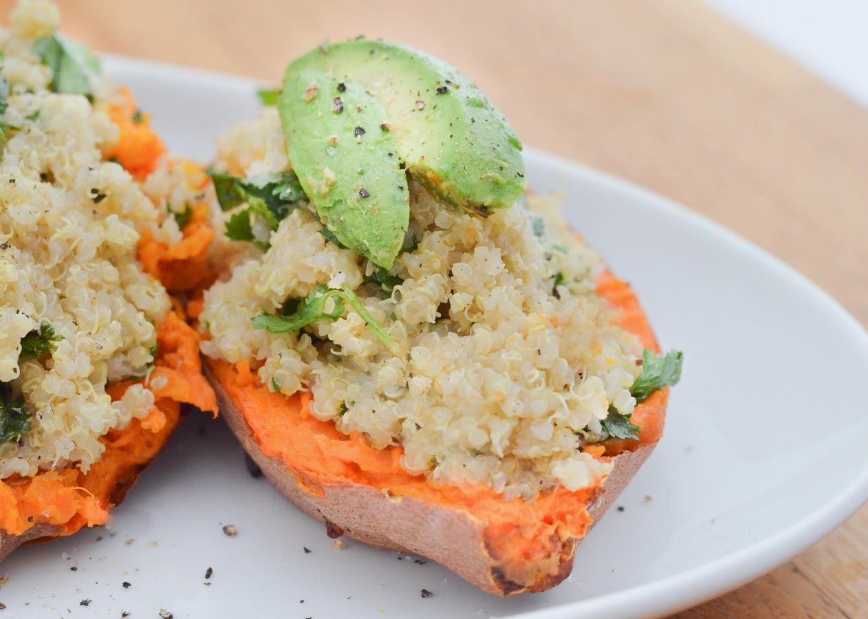 Lime + Cilantro Quinoa-Stuffed Sweet Potatoes   Luci's Morsels