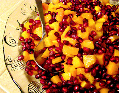 Plate of Roasted Butternut Squash with Pomegranate