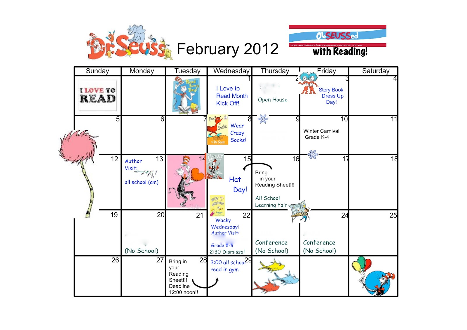 Monthly Reading Calendar : The long way around i love to read month