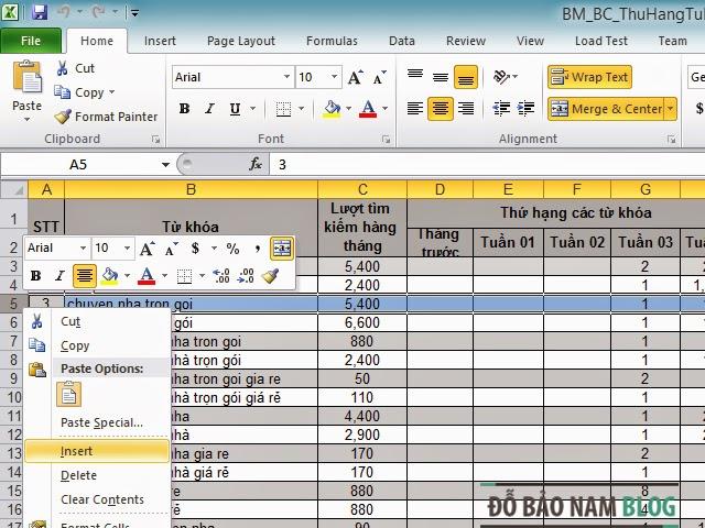 Cách thêm dòng trong Excel