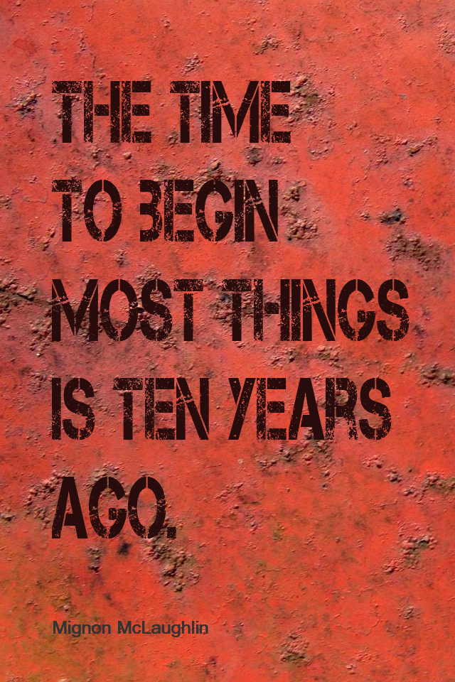 visual quote - image quotation for PROCRASTINATION - The time to begin most things is ten years ago. - Mignon McLaughlin