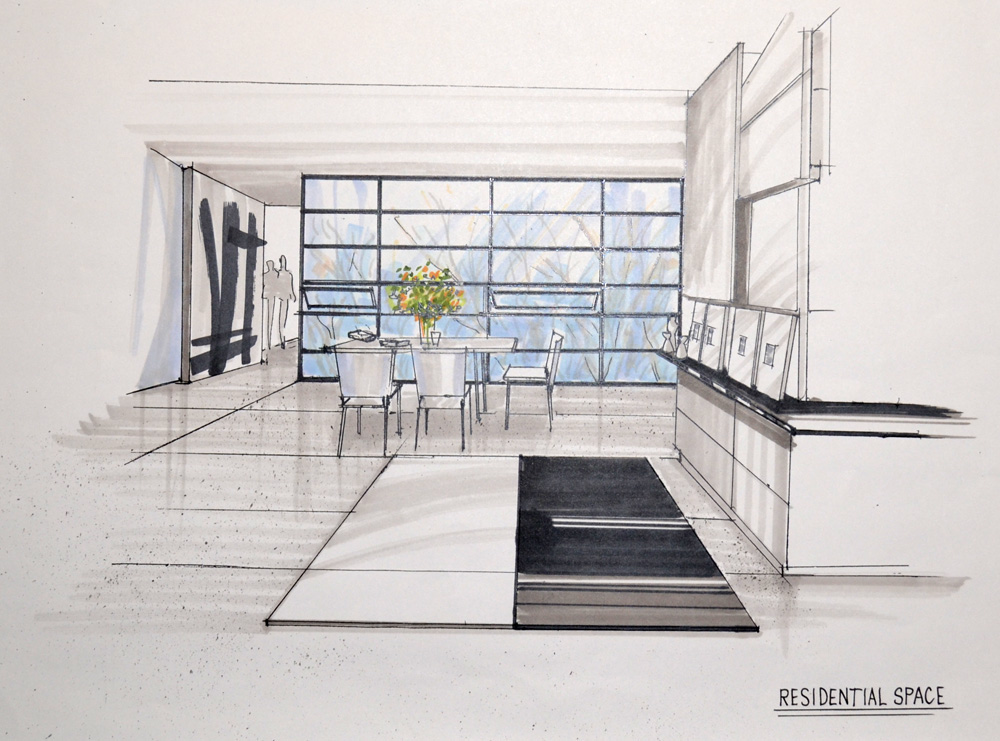 The Gallery For One Point Perspective Living Room Drawing