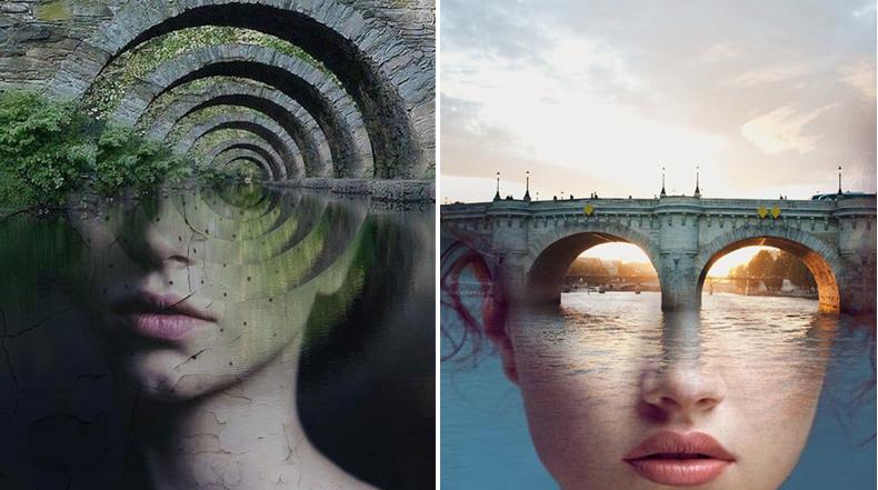 Autorretratos surrealista mezclado en fotografías de paisajes