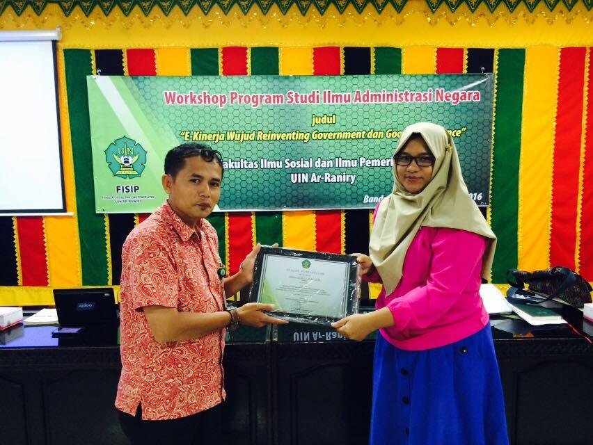 Penghargaan e-kinerja PNS dari FISIP UIN Ar-Raniry
