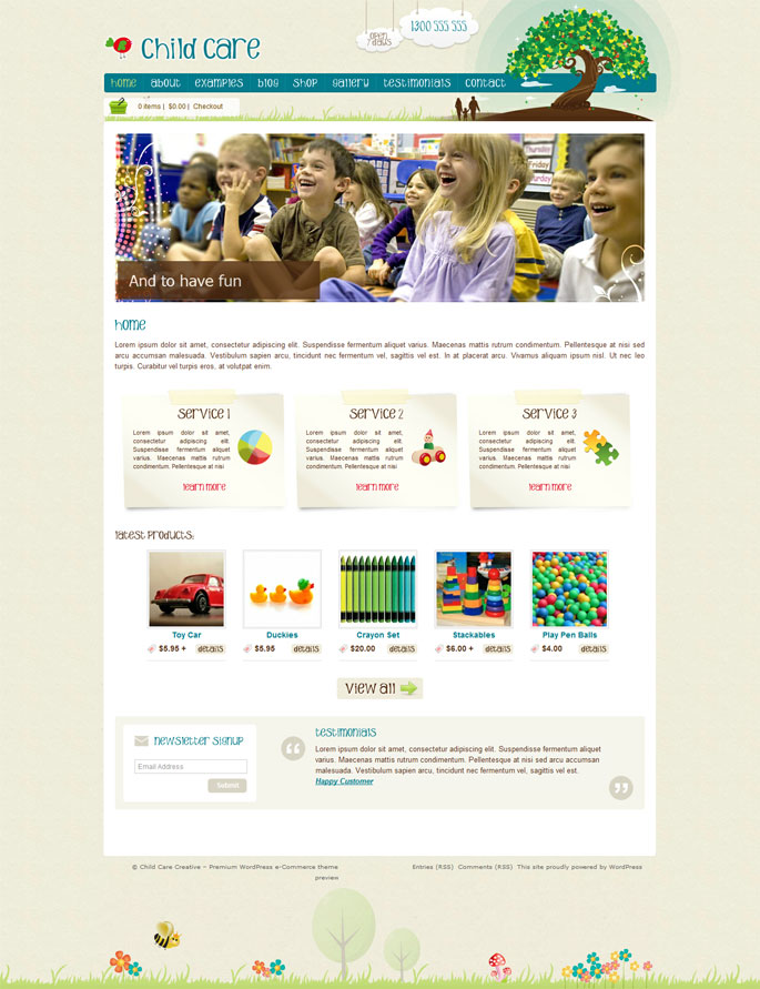 WordPress Theme -Child Care Creative -WordPress Shop & Newsletter ...