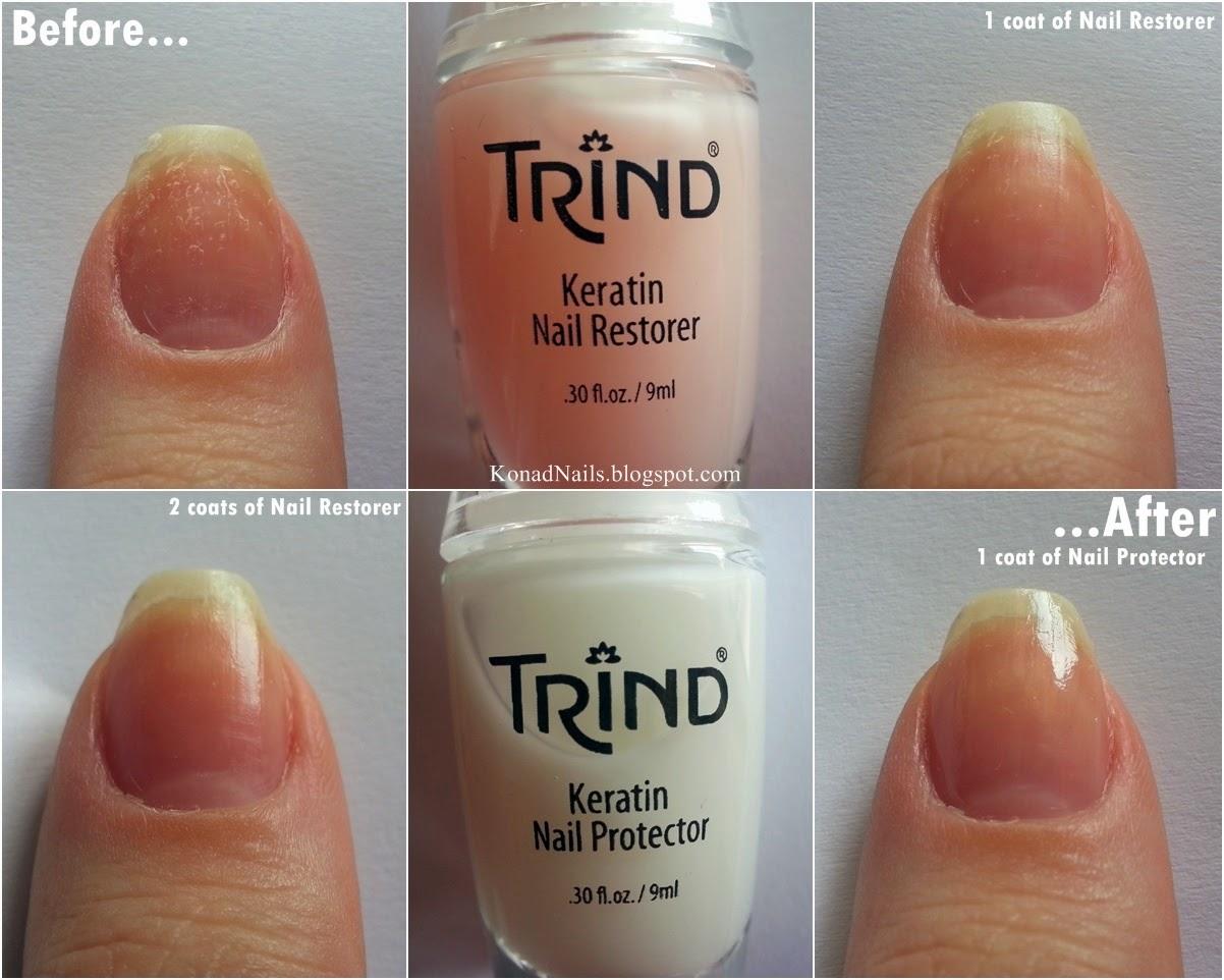 Konad Addict: Trind Keratin Treatment + navy nail art