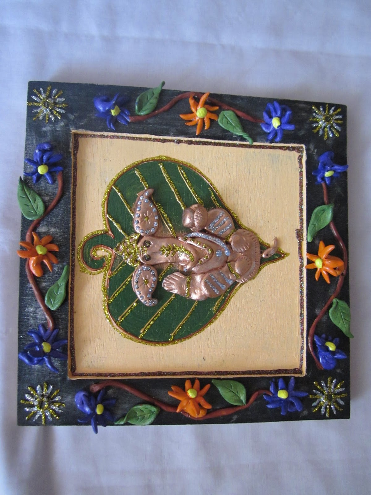 One stop for indian handicrafts mural wall hanger for Mural ganesha