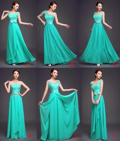 Caribbean Turquoise 6-Design Bridesmaids Maxi